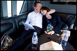 Leader of the Conservative Party David Cameron with his wife Samantha on the campaign coach after a walkabout in Tamworth during his general election campaign, Tuesday April 20, 2010. Photo By Andrew Parsons / i-Images.