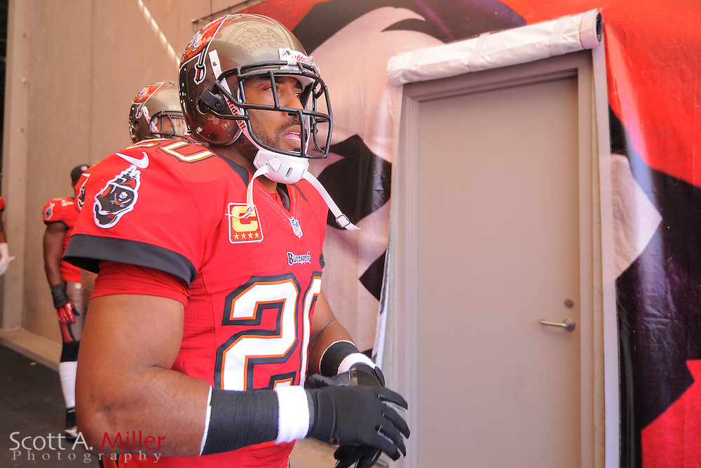 Tampa Bay Buccaneers free safety Ronde Barber (20) in the tunnel prior to an NFL game against the Atlanta Falcons at Raymond James on November 25, 2012 in Tampa, Florida. ...©2012 Scott A. Miller..