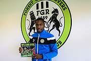"Forest Green Rovers Dale Bennett(2) holds up the new FGR book ""We Are FGR"" during the EFL Sky Bet League 2 match between Forest Green Rovers and Morecambe at the New Lawn, Forest Green, United Kingdom on 28 October 2017. Photo by Shane Healey."