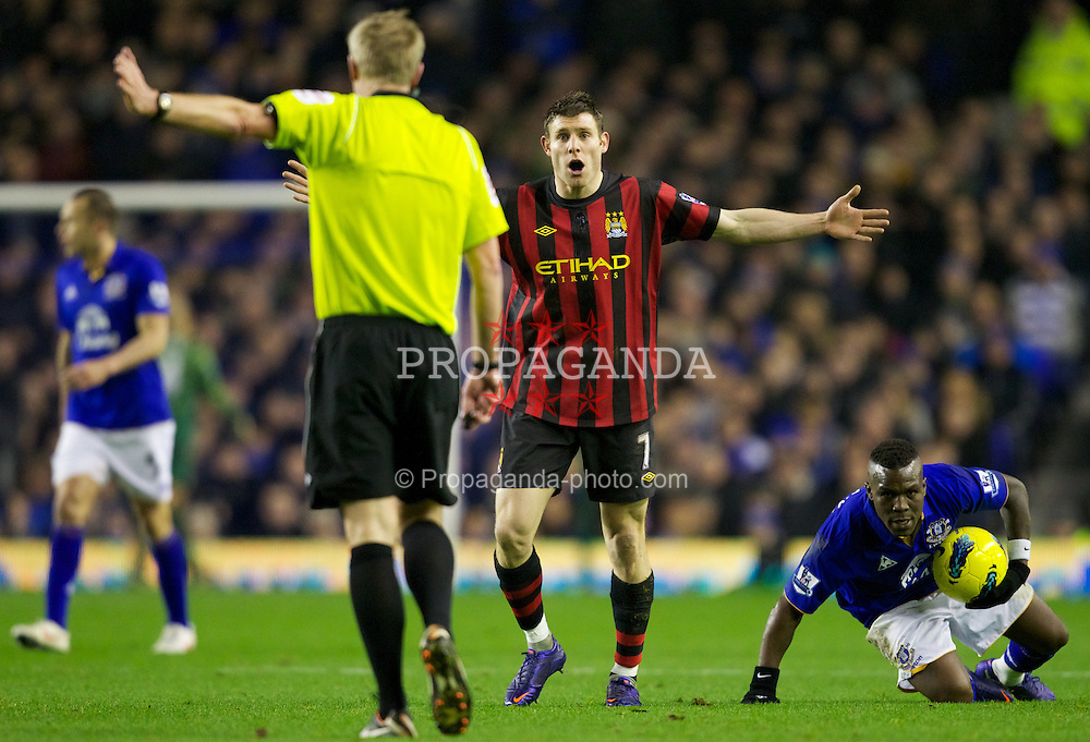LIVERPOOL, ENGLAND - Tuesday, January 31, 2012: Manchester City's James Milner in action against Everton during the Premiership match at Goodison Park. (Pic by Vegard Grott/Propaganda)