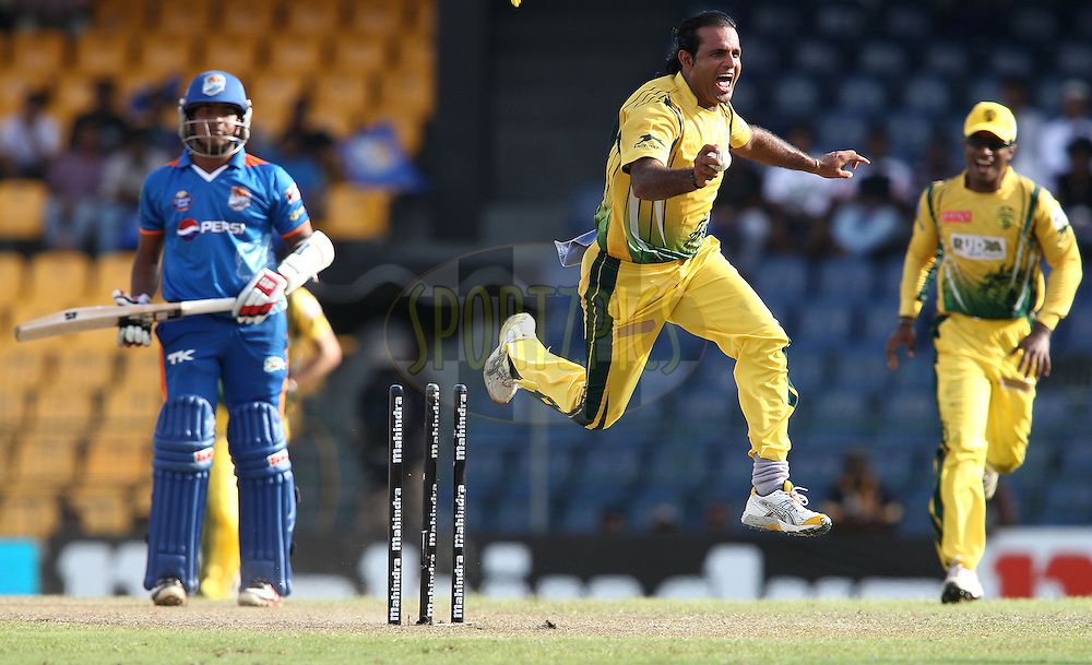 Naved-ul-Hasan of Uthura Rudras celebrates after running out Angelo Perera of Nagenahira Nagas during match 19 of the Sri Lankan Premier League between Uthura Rudras and Nagenahiras held at the Premadasa Stadium in Colombo, Sri Lanka on the 26th August 2012. .Photo by Shaun Roy/SPORTZPICS/SLPL