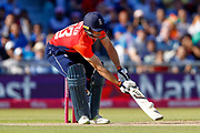 England T20 wicket keeper Jos Butler ramps the ball for a boundary during the International T20 match between England and India at Old Trafford, Manchester, England on 3 July 2018. Picture by Simon Davies.