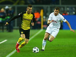 November 21, 2017 - Dortmund, Germany - Andriy Yarmolenko of Borussia Dortmund (Left) during UEFA Champion  League Group H Borussia Dortmund between Tottenham Hotspur played at Westfalenstadion, Dortmund, Germany 21 Nov 2017  (Credit Image: © Kieran Galvin/NurPhoto via ZUMA Press)