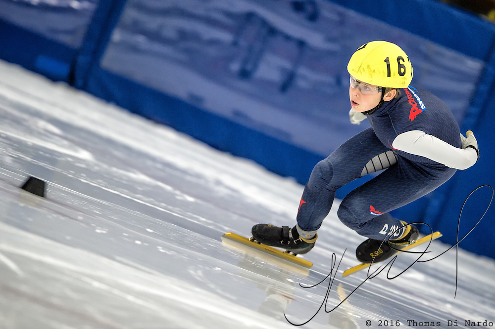 March 19, 2016 - Verona, WI - Kristian Ladegaard, skater number 167 competes in US Speedskating Short Track Age Group Nationals and AmCup Final held at the Verona Ice Arena.