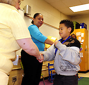 Sagamore Elementary School students in Mrs. Pam Thornton's first grade class including Brayan Rocha get their end of the year awards during a ceremony at the DeKalb County school on Friday May 21, 2010. .        (David Tulis/dtulis@gmail.com)    Photos available on http://www.photoshelter.com/c/davidtulis