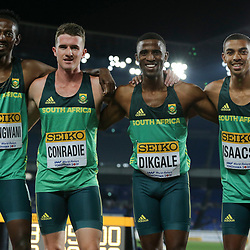 YOKOHAMA, JAPAN - MAY 11: Ashley Hlungwani, Pieter Conradie, Ranto Dikgale and Gardeo Isaacs of South Africa after the mens 4x400m relay heat during day 1 of the IAAF World Relays at Nissan Stadium on May 11, 2019 in Yokohama, Japan. (Photo by Roger Sedres/Gallo Images)