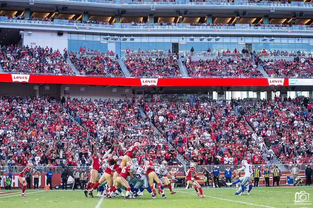 Dallas Cowboys kicker Dan Bailey (5) kicks an extra point against the San Francisco 49ers at Levis Stadium in Santa Clara, Calif., on October 2, 2016. (Stan Olszewski/Special to S.F. Examiner)