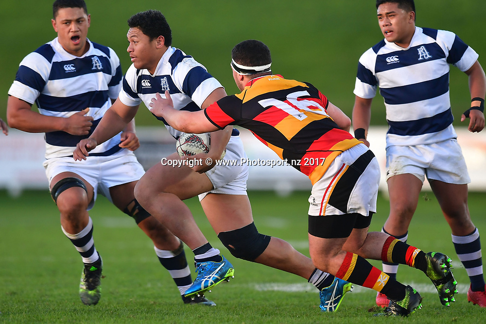 Aucklands Caleb Clarke (L) is tackled by Waikatos Ezra Dunlop during the Jock Hobbs Memorial trophy final rugby match between the Auckland and Waikato at Owen Delany Park in Taupo on Saturday the 16th September 2017. Copyright Photo by Marty Melville / www.Photosport.nz