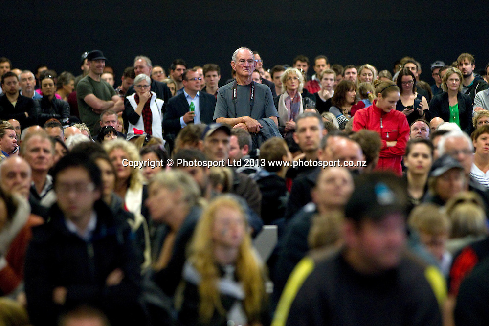 Fans at Shed 10, watch the America's Cup racing between Team New Zealand and Oracle in San Francisco, USA, Tuesday, September 24, 2013. Photo: David Rowland/Photosport