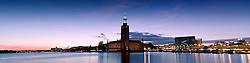 Sunset over City Hall in Stockholm, Sweden<br />