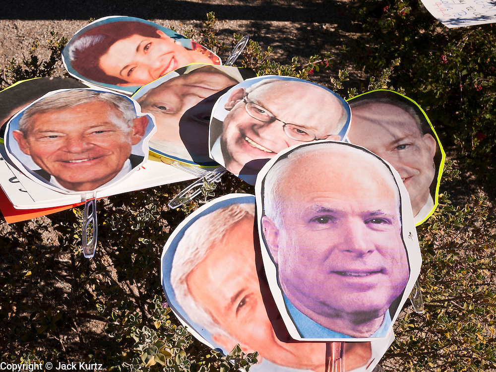 "07 DECEMBER 2010 - PHOENIX, AZ:  Masks of US Senators who at one time supported the DREAM Act in front of the offices of US Sen. John McCain in Phoenix Tuesday. Dolores Huerta, who started working in the civil rights movement in the 1960's, threw her support behind students fasting on behalf of the DREAM Act in front of Sen. John McCain's office Tuesday. The student picked McCain's office because he used to support the DREAM Act. They hope that the US Senate will pass the DREAM Act during its ""lame duck"" session. The Senate debated and defeated similar legislation just before the November general election. PHOTO BY JACK KURTZ"