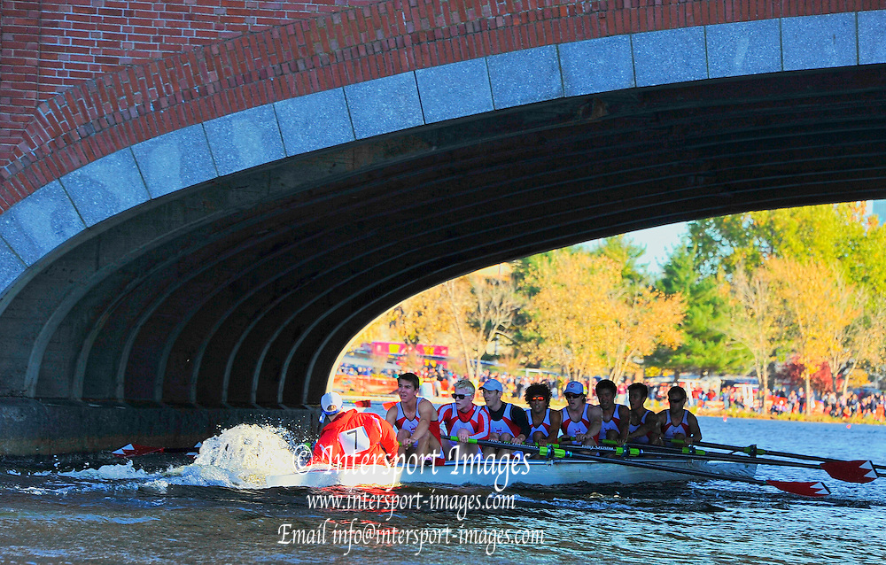 Cambridge. MA. USA. Championship Men's Eights  hand steering under the  Eliot Bridge 49th edition of the Head of the Charles. went on to win their event.<br /> <br /> <br /> 15:56:21  Sunday  20/10/2013   <br /> <br /> [Mandatory Credit. Credit. Karon Phillips /Intersport Images]