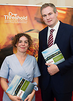 Repro Free: Karina Timothy Thresthold with Minister Sean Kyne  at the launch of Threshold: The Galway Tenancy Protection Service annual report  by Minister for Community Development, Natural Resources and Digitial Development  Sean Kyne in Galway.  Photo:Andrew Downes, xposure .