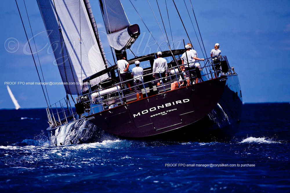 Moonbird sailing in the Caribbean Superyacht Regatta and Rendezvous, race 1.