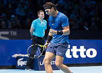 Tennis - 2017 Nitto ATP Finals at The O2 - Day Two<br /> <br /> Group Pete Sampras Singles: Rafael Nadal (Spain) Vs David Goffin (Belguim)<br /> <br /> Rafael Nadal (Spain) with a fist pump of encouragement at the O2 Arena <br /> <br /> <br /> COLORSPORT/DANIEL BEARHAM