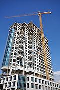 Israel, Tel Aviv, Construction of a modern high rise building on Dizengoff street