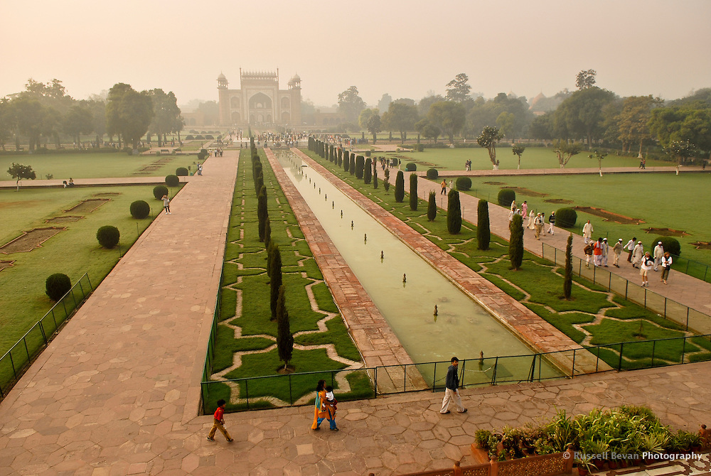 A view of the gardrens & main gate from the Taj Mahal in Agra, Uttar Pradesh, India