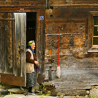 Old turkish woman near here house in east Turkey