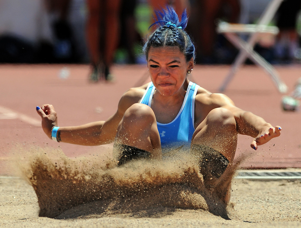 jt051217c/sports/jim thompson/ Cleveland's Kaylee Caldwell jumps for a first place in the Girls 6A state Track championships in the girls long jump. Friday May. 12, 2017. (Jim Thompson/Albuquerque Journal)