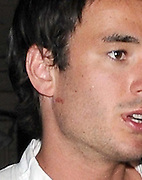 03.JUNE.2009. LONDON<br /> <br /> JACK TWEED LEAVING MOVIDA CLUB AT 1.00AM WITH PINK LIPSTICK ON HIS FACE WITH SOME FRIENDS AND BEING FOLLOWED CLOSLEY BEHIND BY 2 BLONDE GIRLS WHO WERE GETTING IN THE CAB WITH HIM THEN HE TRIED TO PUSH THEM OUT THE CAB BEFORE GETTING OUT HIMSELF, THE TWO GIRLS THEN TURNED UP AT BUNGALO 8 CLUB 10 MINUTES BEFORE JACK TURNED UP BUT WHEN HE GOT TO THE DOOR HE GOT TOLD IT WAS A PRIVATE MEMBERS NIGHT SO HE STOOD IN THE FOYER OF THE HOTEL FOR 45 MINUTES TALKING TO THE GIRLS AND HIS FRIENDS AND LOOKING VERY MISERABLE WITH HIS HEAD BOWED BEFORE LEAVING.<br /> <br /> BYLINE: EDBIMAGEARCHIVE.COM<br /> <br /> *THIS IMAGE IS STRICTLY FOR UK NEWSPAPERS AND MAGAZINES ONLY*<br /> *FOR WORLD WIDE SALES AND WEB USE PLEASE CONTACT EDBIMAGEARCHIVE - 0208 954 5968*