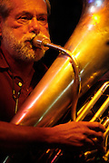 072410-Evergreen, COLORADO-jazzfest-Tuba player and band leader Bill Clark plays with the Queen City Jazz Band during the 2010 Evergreen Jazz Fest Saturday, July 24, 2010 at the Little Bear..Photo By Matthew Jonas/Evergreen Newspapers/Photo Editor