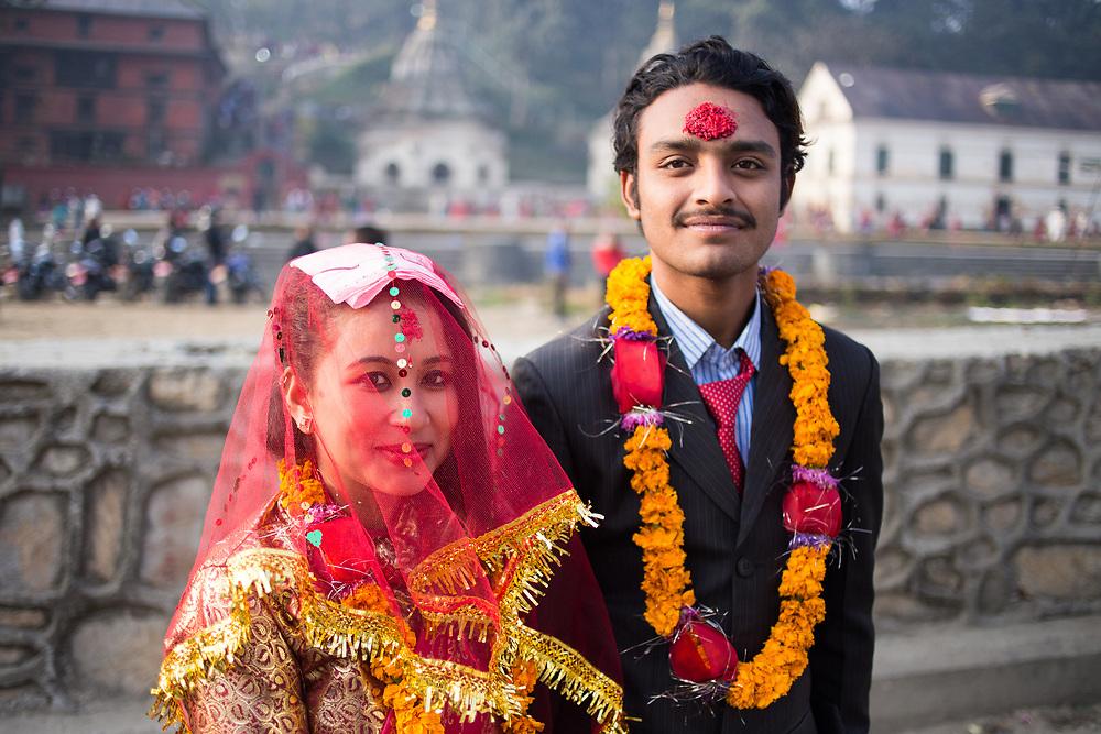 Young nepali couple just married. Kathmandu, Nepal. Photo by Lorenz Berna
