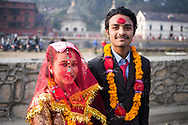 Young nepali couple just married. Kathmandu, Nepal. Photo by Lorenz Berna