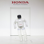 Asimo, human-shaped robot developed by Japanese automaker Honda shows its ability during a press preview of the Seoul Motor Show in Goyang, north of Seoul, April 2, 2015. Photo by Lee Jae-Won (SOUTH KOREA) www.leejaewonpix.com/