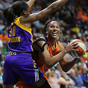 UNCASVILLE, CONNECTICUT- MAY 26: Alyssa Thomas #25 of the Connecticut Sun attempts to shoot past Nneka Ogwumike #30 of the Los Angeles Sparks during the Los Angeles Sparks Vs Connecticut Sun, WNBA regular season game at Mohegan Sun Arena on May 26, 2016 in Uncasville, Connecticut. (Photo by Tim Clayton/Corbis via Getty Images)