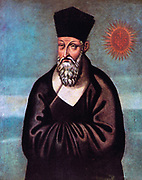 Jesuit missionary Matteo Ricci  (from Vincent Cronin's The Wise Man from the West.) Painted in 1610 by the Chinese brother Emmanuel Pereira (born Yu Wen-hui), who had learned his art from the Italian Jesuit, Giovanni Nicolao.