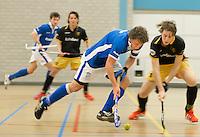 UTRECHT - Hoofdklasse Zaalhockey: Constantijn Jonker (Kampong)  aan de bal tijdens de wedstrijd tussen Kampong en Den Bosch. FOTO KOEN SUYK