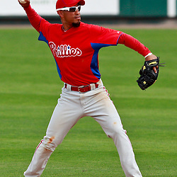 March 9, 2011; Lakeland, FL, USA; Philadelphia Phillies second baseman Wilson Valdez (21) during a spring training exhibition game against the Detroit Tigers at Joker Marchant Stadium.   Mandatory Credit: Derick E. Hingle