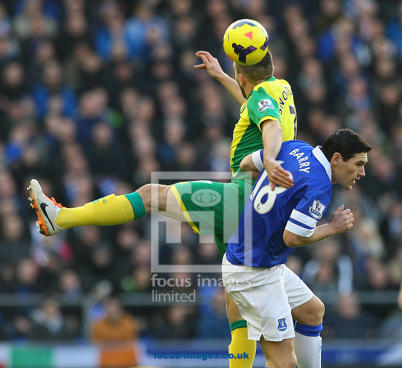 Picture by Paul Chesterton/Focus Images Ltd +44 7904 640267<br /> 11/01/2014<br /> Robert Snodgrass of Norwich and Gareth Barry of Everton in action during the Barclays Premier League match at Goodison Park, Liverpool.