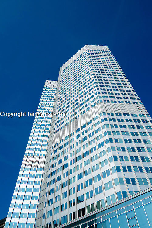 Tower containing headquarters of the European Central Bank, ECB, in financial district of Frankfurt Germany