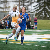 4th year midfielder Nikita Senko (9) of the Regina Cougars during the Women's Soccer Homeopener on September 16 at U of R Field. Credit: Arthur Ward/Arthur Images