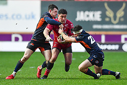 Kieron Fonotia of Scarlets is tackled by Simon Hickey of Edinburgh<br /> <br /> Photographer Craig Thomas/Replay Images<br /> <br /> Guinness PRO14 Round 11 - Scarlets v Edinburgh - Saturday 15th February 2020 - Parc y Scarlets - Llanelli<br /> <br /> World Copyright © Replay Images . All rights reserved. info@replayimages.co.uk - http://replayimages.co.uk