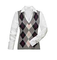 Argile sweater vest and white shirt on white background