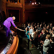 Temptations founding member Otis Williams thanks a fan from the stage at The Music Hall in Portsmouth, NH