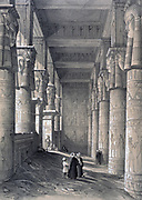 Denderah, interior of the Great Temple', 1843. Lithograph after Owen Jones and Jules Goury. Hippostyle hall of the Temple of Hathor, mother goddes of Ancient Egypt. Archaeology Architecture Religion Mythology
