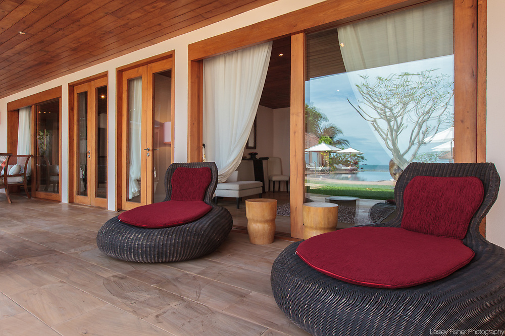 Outdoor lounding at Baan Wanora, a luxury, private, beach front villa located in Laem Sor, Koh Samui, Thailand