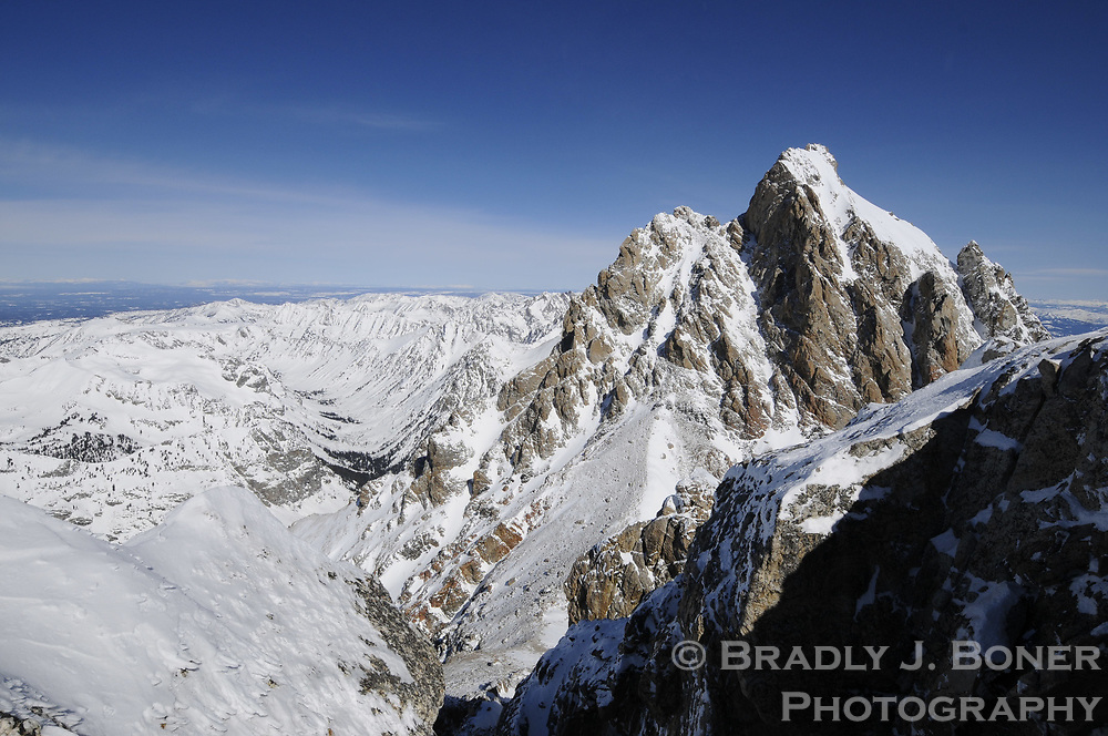 South side of Grand Teton, viewed from summit of Middle Teton
