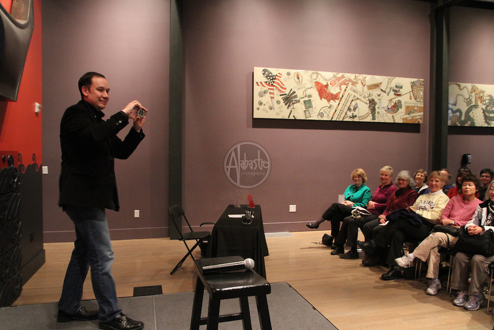 Author Jamie Ford reading from his latest book, Songs Willow Frost, at the Wing Luke Museum.