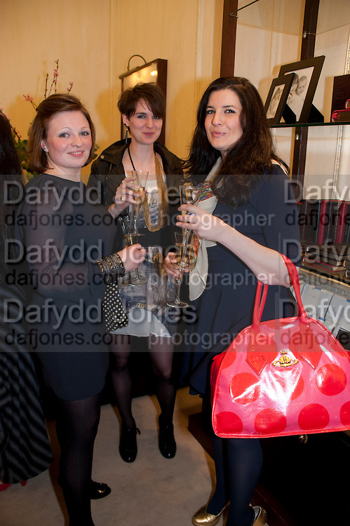ALEX WILSON; CHARLEY HARLEY; ROSIE REYNOLDS, Smythson Royal Wedding exhibition preview. Smythson together with Janice Blackburn has commisioned 5 artist designers to create their own interpretations of  Royal wedding memorabilia. Smythson. New Bond St. London. 5 April 2011.  -DO NOT ARCHIVE-© Copyright Photograph by Dafydd Jones. 248 Clapham Rd. London SW9 0PZ. Tel 0207 820 0771. www.dafjones.com.