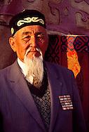 Kazakh World War II Veteran (Great War veteran) at the Auezov Jubilee Festival, Borli-Aul.