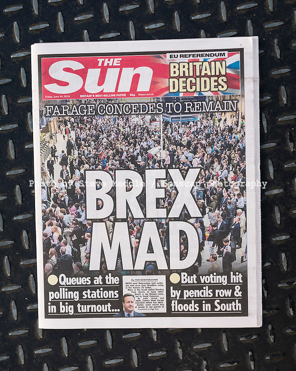 British newspaper The Sun front page on the day after the EU Referendum, London, UK - 24 Jun 2016