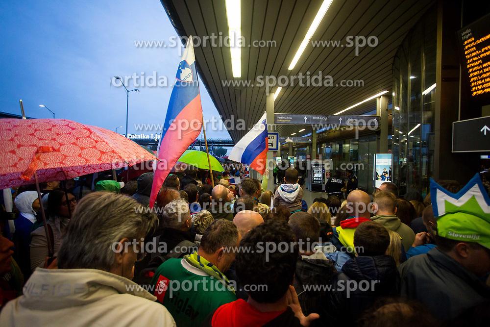 Reception of Slovenian national basketball team after Eurobasket 2017, on Septebmer 18, 2017 in Letalisce Jozeta Pucnika, Brnik, Kranj, Slovenia. Photo by Ziga Zupan / Sportida