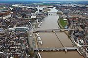 Nederland, Limburg, Maastricht, 15-11-2010;.Drie bruggen over de Maas in Maastricht,van onder naar boven: Servaasbrug, Wilhelminabrug en Noorderbrug. Onmiddellijk links van de middelste brug het shopping center Mosae Forum.luchtfoto (toeslag), aerial photo (additional fee required).foto/photo Siebe Swart