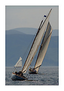 Jap, a CHOD Gaff from 1897. with Tern and Moonbeam heading towards Arran...This the largest gathering of classic yachts designed by William Fife returned to their birth place on the Clyde to participate in the 2nd Fife Regatta. 22 Yachts from around the world participated in the event which honoured the skills of Yacht Designer Wm Fife, and his yard in Fairlie, Scotland...FAO Picture Desk..Marc Turner / PFM Pictures