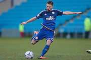 Connor Hughes (Halifax) takes a shot, and misses the target during the Vanarama National League match between FC Halifax Town and Welling United at the Shay, Halifax, United Kingdom on 30 January 2016. Photo by Mark P Doherty.