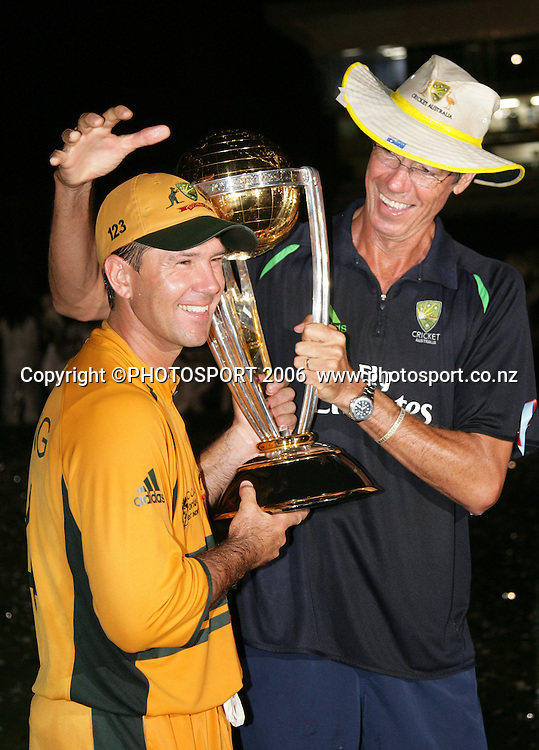 The Australian team celebrate at the conclusion of the 2007 ICC Cricket World Cup Final between Australia and Sri Lanka at Kensington Oval, Barbados, West Indies on Saturday 28 April 2007. Australia won the toss and elected to bat first and won the match by 53 runs. Photo: Andrew Cornaga/PHOTOSPORT<br /><br /><br />280407